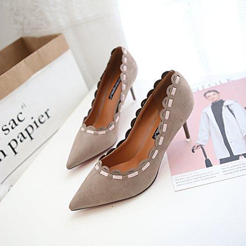 La Pointe De La Version Coréenne De Chaussures À Talons Hauts Pointu Chaussures À Talons Hauts Avec 7cm De Lumière Des Chaussures Simples Des Femmes Kaki