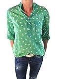 Tim Collins Damen Bluse Reine Baumwolle Vintage-Look Langarm Tunika Shirt Fischerhemd Batik Flamingo-Muster Loose-Fit (Flamingo Grün)