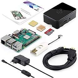 ABOX Raspberry Pi 3 B+ Starter Media Center Kit 32GB con Tarjeta de Memoria SanDisk + Micro SD Clase 10, Adaptador de Corriente con Interruptor, 2 Radiadores, Cable HDMI, Caja de Calidad, Lector de Tarjetas