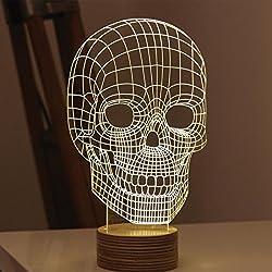 Luffystore Visualización 3d increíble resplandor LED Lámpara Noche Light-Bulb/Iron Man/Calavera/Diseño en espiral/Star Wars Darth Vader/Big Hero Baymax, madera, Skull