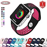Bracelet Apple Watch,FunBand 38mm Apple Watch en Sport de Doux Silicone Souple Strap Wrist Band Replacement avec des Trous Respirants pour Nike + Style Apple Watch Serie 3,Serie 2,Serie 1 (Noir-Rose)