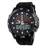 Ocamo Boy Outdoor Solar Sports Watch Waterproof GMT Alarm Calendar Chronograph EL Backlight Digital Wristwatch for Students