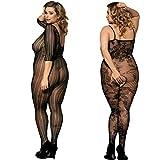 2 Pack Damen Unterwäschen Bodystockings Catsuit mit Strapse Body Dessous aus Netz Schwarz Übergröße