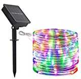 DINOWIN Tubo luminoso da 100 LED, impermeabile, filo in rame, per decorare gli esterni, il giardino, il cortile, il sentiero, la staccionata, a energia solare, 12 m moderno Multicolore