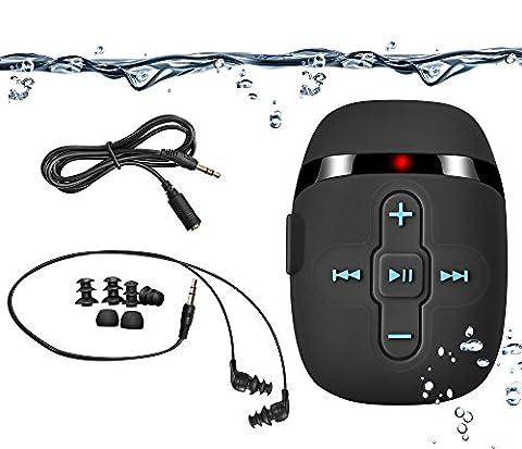 Sigomatech 8 GB MP3 player de natation avec Extra court Cordon des headphones et des 3 Type Swimbuds, cordon court idéal pour la natation; Extension du cordon audio pour différentes activités, Shuffle Fonction (Black)
