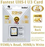 Amplim 2X 32GB Micro SD SDHC U3 Memory Card Plus Adapter Pack (Class 10 U3 UHS-I MicroSD HC Extreme Pro) 32 GB Ultra High Speed 95/90MB/s R/W UHS-1 TF MicroSDHC 4K Flash for Phones, Drones, Cameras