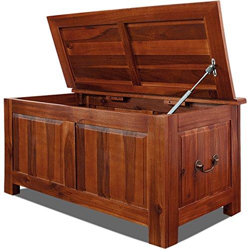Deuba Holztruhe Truhenbank Truhe aus Akazien Hartholz - Tischtruhe Wäschetruhe Sitzbank Aufbewahrungsbox mit Gasdruckheber braun, 85x44x48 cm