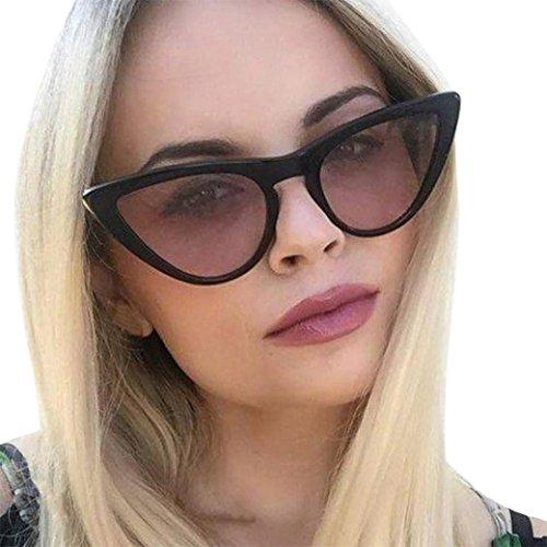 URSING Frauen Film Objektiv Katzenaugen Acetat Rahmen UV-Brille Kleine Rahmen Dreieck Vintage Shades Sonnenbrille Retro Vintage Cateye Brille Damen Eyewear Women Sunglasses Damenbrillen (D)
