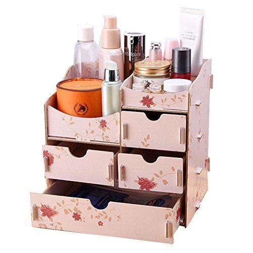 GossipBoy Bricolage en Bois Assembler Bureau Maquillage Organisateur Cosmétiques Titulaire Cas avec Tiroir Salle De Stockage Boîte, 4 Tiroirs (Fleur)