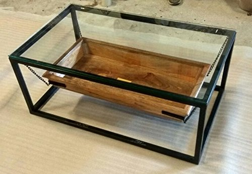 Indoortrend.com Lounge Filippa Table Basse en Bois manguier et Structure métallique Design Industriel