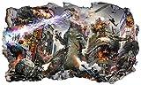 Chicbanners Godzilla 3D V004Selbstklebend Magic Wandtattoo Fenster Poster Wall Art Größe 1000mm Breit x 600mm Tief (groß)