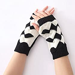 New Patchwork Hand Ankle Warmer Knitted Short Fingerless Gloves (Black)