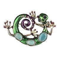 ljym88 Brooch Green Unique Jewelry Enamel Gecko Lizard Snake Fabala Alloy