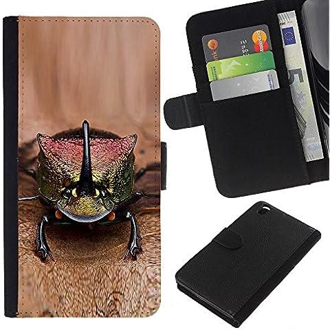 Leather Etui en cuir || HTC DESIRE 816 || gecko lagarto marrón animales exóticos @XPTECH