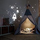 ilka parey wandtattoo-welt® Leuchtsticker Weltall Leuchtaufkleber Wandtattoo Wandaufkleber Wandsticker Rakete Astronaut und Sterne fluoreszierend M2216