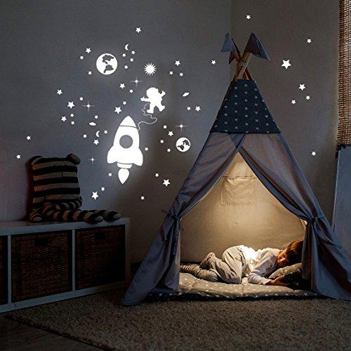 Rakete Wandtattoo (ilka parey wandtattoo-welt® Leuchtsticker Weltall Leuchtaufkleber Wandtattoo Wandaufkleber Wandsticker Rakete Astronaut und Sterne fluoreszierend M2216)