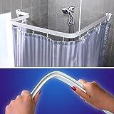 Flexible Winkel für Dusche und Badewanne, Chrom, Schiene Vorhang