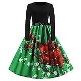 Xmiral Weihnachten Kleid Damen Elegant Vintage Xmas Print Langarm Abend Party Kostüm (M,Grün3)