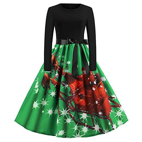Xmiral Weihnachten Kleid Damen Elegant Vintage Xmas Print Langarm Abend Party Kostüm (XXL,Grün3)