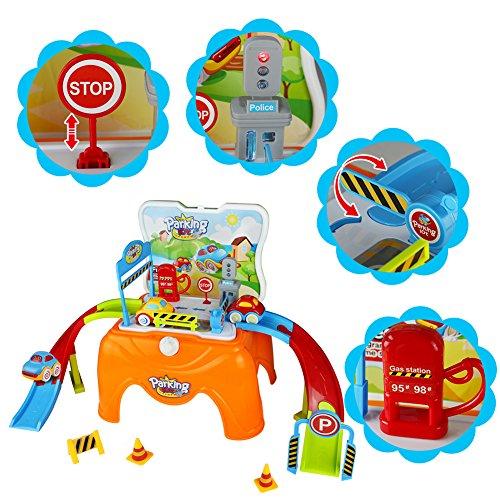 Aparcamiento con Coche Juguete Taburete Infantil con 3 Taxi Juguetes  Taburete  Gasolinera  Coches Mini para Niños de 3 4 5 6 Años  21 Pcs