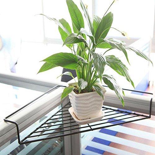 Chris wang iron wire outdoor corner plant caddy, patio ringhiera deck shelf holds vasi da fiori e più, box office sundries storage rack, salvaspazio, senza viti (nero)