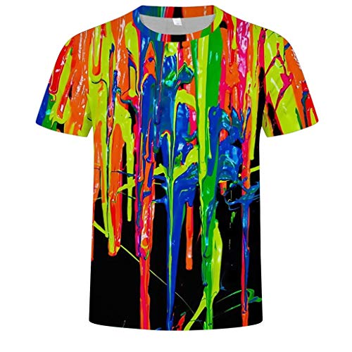 SIRIGOGO Oil Color Inkjet Print Tops für Herren, Herren Oil Color Inkjet Print Bluse Rundhals T-Shirt Kurzarm Fashion T-Shirts, S ~ 3XL - 27 Inkjet-print