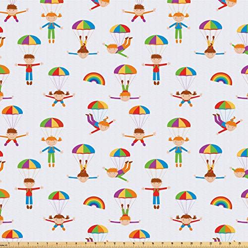 ofaser Stoff als Meterware, Fallschirm springen Kinder, Deko Basteln Polsterstoff Textilien, 2M (160x200cm), Mehrfarbig ()