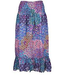 fd5badced8ef P ANTI GURU Gonne-lunghe-donna-raggazza-estive-fiori etnica vita alta lunga  estiva per ragazza donna (blu modello…