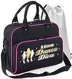 MusicaliTee Line Dancing - Line Dance Diva - SCHWARZ + ROSA Pink - Tanztasche & Schuh Tasche Dance Shoe Bags