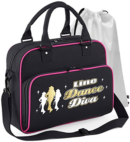 Line Dancing - Line Dance Diva - Schwarz + Rosa Pink - Tanztasche & Schuh Tasche Dance Bags MusicaliTee (Rosa Damen T-shirt Cowboy)