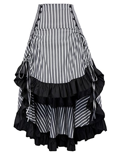 Damen Gothic Steampunk High Low Falten Streifen Casual Rock S Grau BP345-3