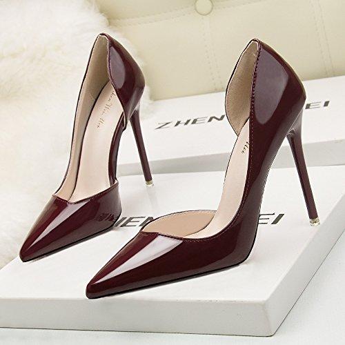 Bocca poco profonda scarpe unico europeo e americano ammenda minimalista con tacco alto luce punta ugello lato come video sexy thin ol carriera scarpe singolo Wine red