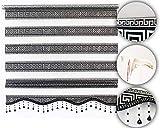 Brillant Gardinen Duo Doppel Rollo Versace J5, Schwarz-Silber, Klemmfix Ohne Bohren, Neu (60 x 200 cm)
