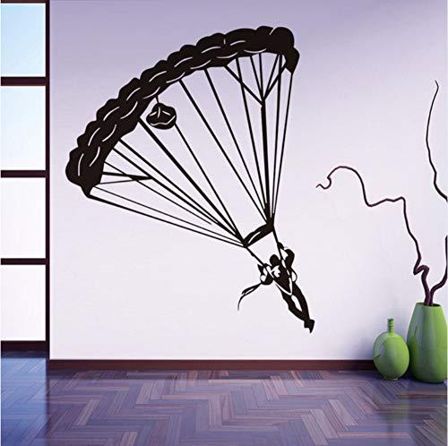 inger Wandaufkleber Extreme Fallschirmspringen Sport Home Decor Vinyl Abnehmbare Silhouette Wandtattoos Jungen Kinderzimmer Kindergarten 44x54 cm ()