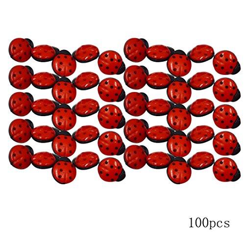 AiSi 100 Stück Kunststoff 3D Marienkäfer Knopf / Knöpfe Kinderknöpfe Für Nähen Basteln Handwerk Näharbeit DIY Werkzeug Dekoration 2*1.8cm Siebenpunkt Marienkäfer Rot