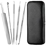 Beauté Secrets Stainless Steel Anti-Slid Handle Blackhead Remover Tools Kit with Case, Pack of 5