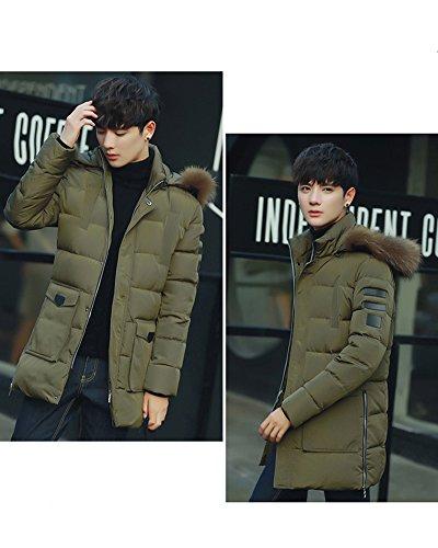 LaoZan Herren Warmer Mantel Lange Jacke Winterjacke mit Kapuze Mantel Parka Warm Outwear Armee-Grün