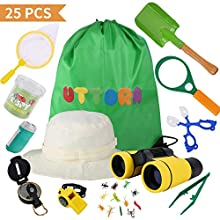 UTTORA Outdoor Explorer Kit Kids Toys,25 Pieces Birthday Present for 3-12 Years Old Boys Girls Adventure STEM Backpacking Gifts Compass Binocular Camping Bug Catcher Hiking Pretend Play Fun for Kids