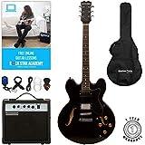 Guitare Stretton Payne 335 - Guitare électrique semi-acoustique - Corps creux avec amplificateur, sac rembourré, câble, sangle, plectre, accordeur et cordes de rechange Guitare en noir