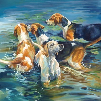 pond-life-foxhound-hunting-greeting-card-made-from-an-original-painting-by-debbie-harris-printed-on-