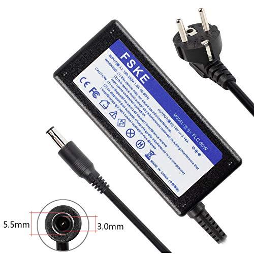 FSKE 60W 19V 3.16A Laptop Netzteil Ladegerät für Samsung R720 R710 NP350V5C R580 NP300E5A RV510 RV720 R510 R410 NP550P5C NP355V5C R520 NP305E7A RV520 Notebook AC Adapter,EUR Power Supply, 5.5 * 3.0mm