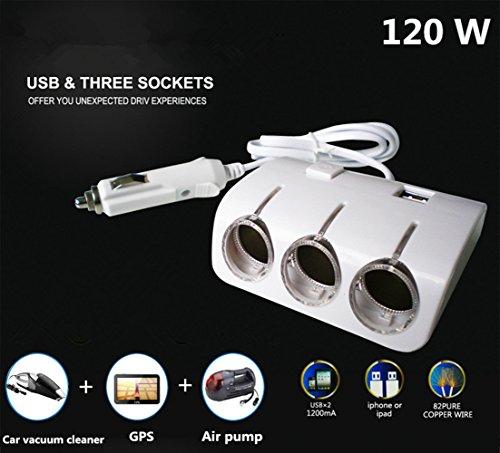 Caricabatteria da Auto USB Adattatore Accendisigari Splitter 120 W 12V/24V, Doppia Porta USB DC5V/1.2A 3 Prese, Con Interruttore Illuminazione a LED Blu Protezione da Cortocircuito Universale Bianco.