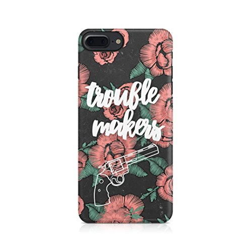 King Crown Matching Couple King And Queen Gift For Boyfreind And Girlfriend Custodia Protettiva In Plastica Rigida Cover Per iPhone 7 Plus / iPhone 8 Plus Case Trouble Maker Pink