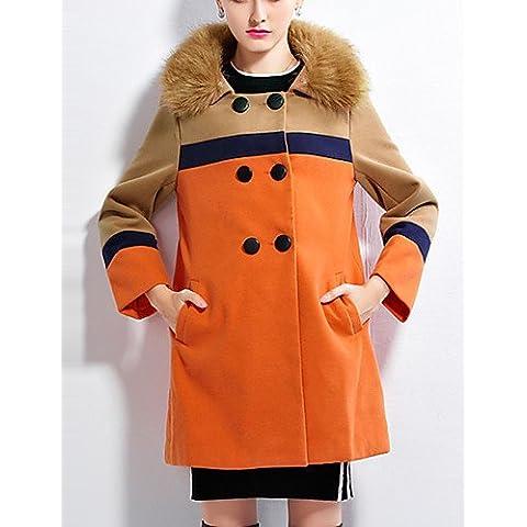 Da Wu Jia señoras cubra la mujer/Diario Casual Vintage bloque CoatColor Peter Pan Collar de manga larga de invierno rojo / naranja mediano de poliéster , 3xl