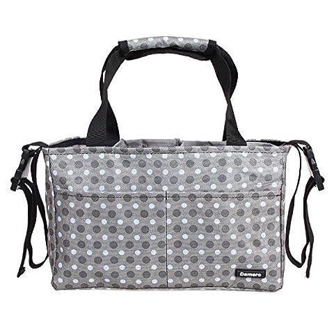 Damero Insert Organiser(Sewn to the Bottom) for Women's Handbag / Stroller Accessories Organiser/ Baby Nappy Bag with Handles and Stroller Straps (Grey