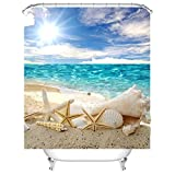 Waterproof Polyester Fabric Bathroom Shower Curtain, Qile Mildew-Resistant Anti-Bacterial 3D Digital Printing Pattern Shower Curtains with 12 Ring Hooks, 180 x200cm (Scorching Sun Beach)