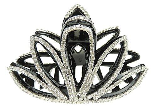 Noir Extra Paillette 8 cm Strass Cristal Soirée Cheveux Claw Clamp Spikey Feuilles
