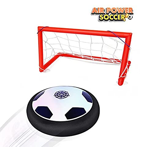 Betheaces Air Football Game, Hover Ball Air Power Soccer Disc Glide Base Soft Foam Floating Ball Game Training Indoor Outdoor Funny Toys with Foam Bumpers/LED Lights/Portable Gate Perfect for Kids Adults (Soccer Gate Set)