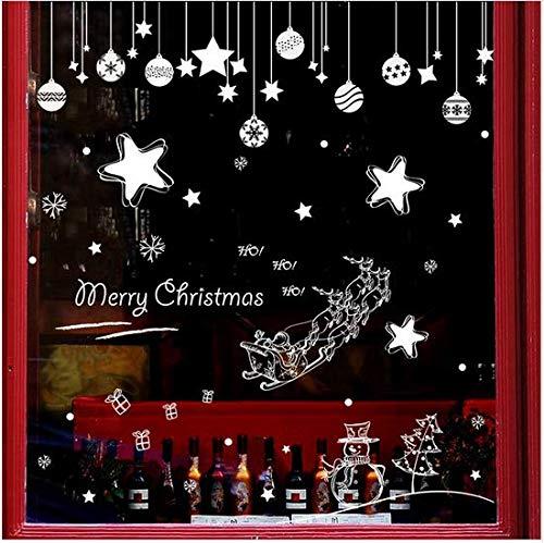 Newberli Frohe Weihnachten Cartoon Weiß Zwei Arten Von Stil Sternenhimmel Sleigh Und Ball Wandaufkleber Wandtattoo Wohnzimmer Showcase Wandbild (Halloween Arten Von Zwei Mädchen)