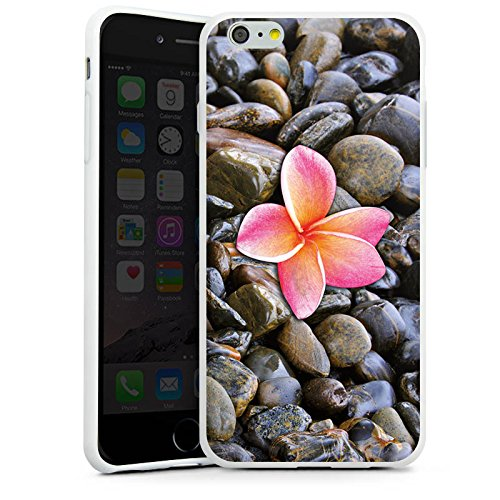 Apple iPhone X Silikon Hülle Case Schutzhülle Blüte Pink Kiesel Silikon Case weiß